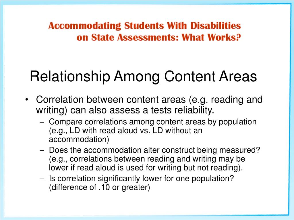 Relationship Among Content Areas
