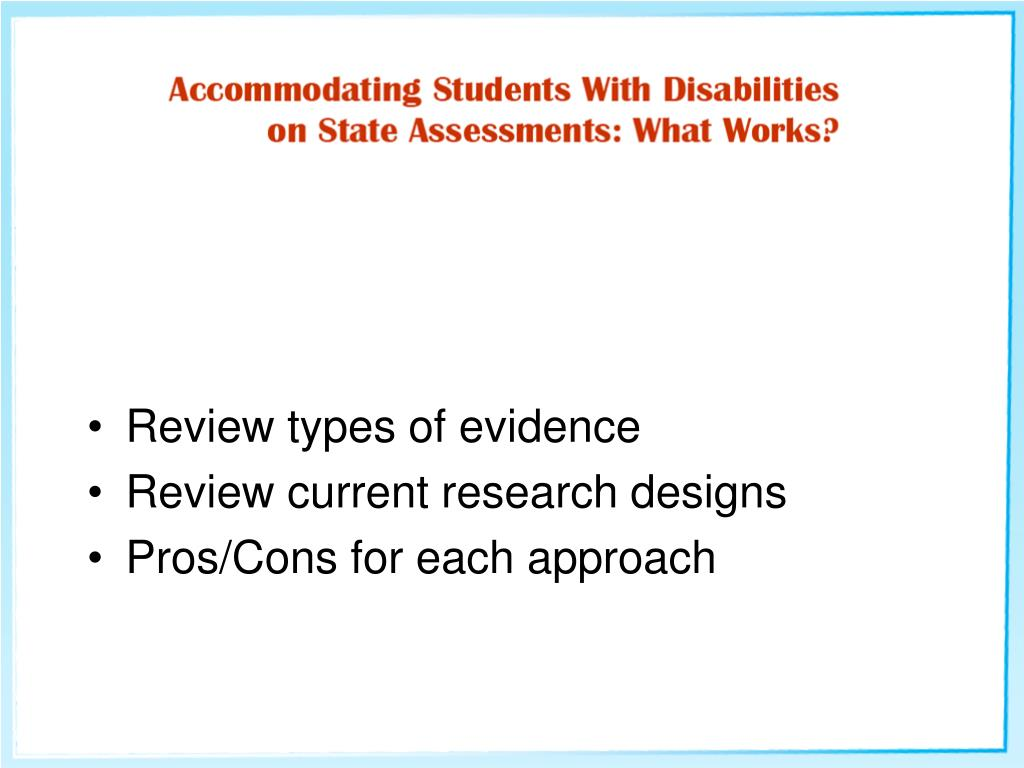 Review types of evidence