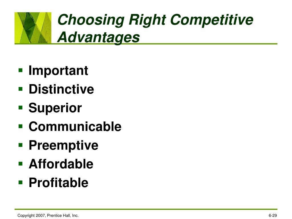 Choosing Right Competitive Advantages