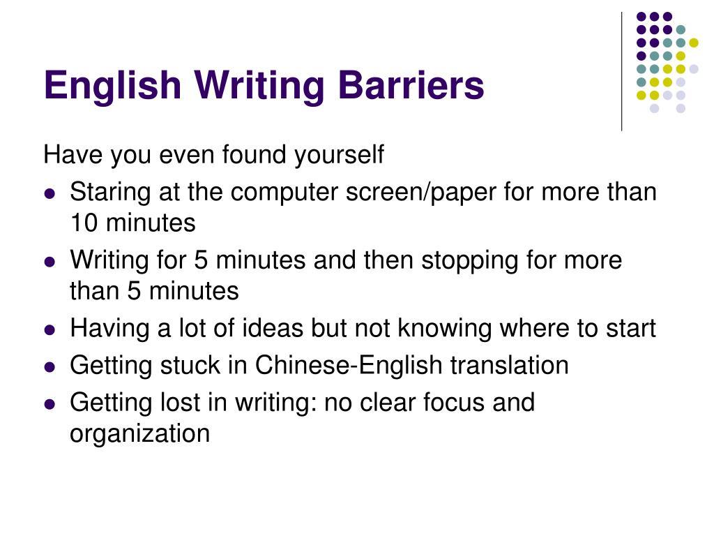 English Writing Barriers