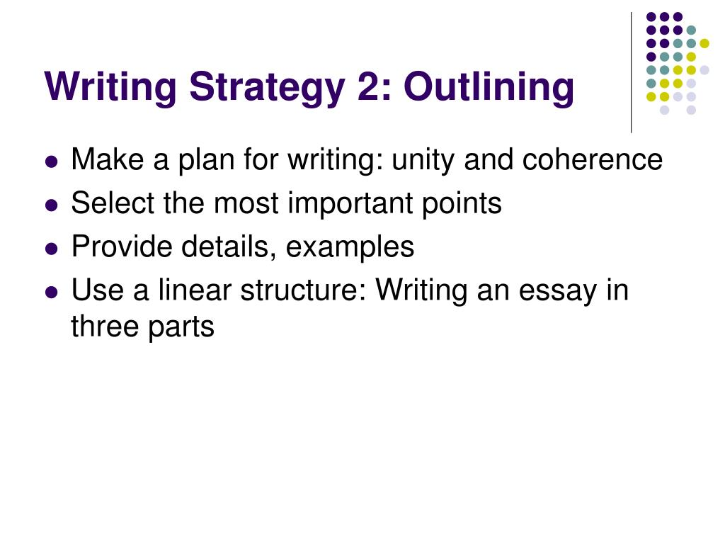 Writing Strategy 2: Outlining