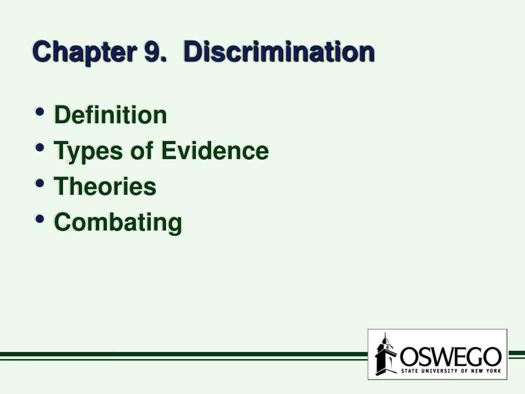 Chapter 9.  Discrimination