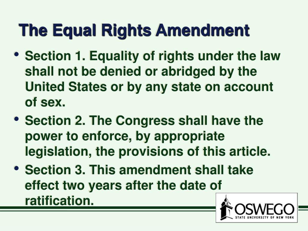 The Equal Rights Amendment