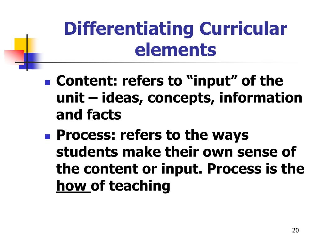 Differentiating Curricular elements