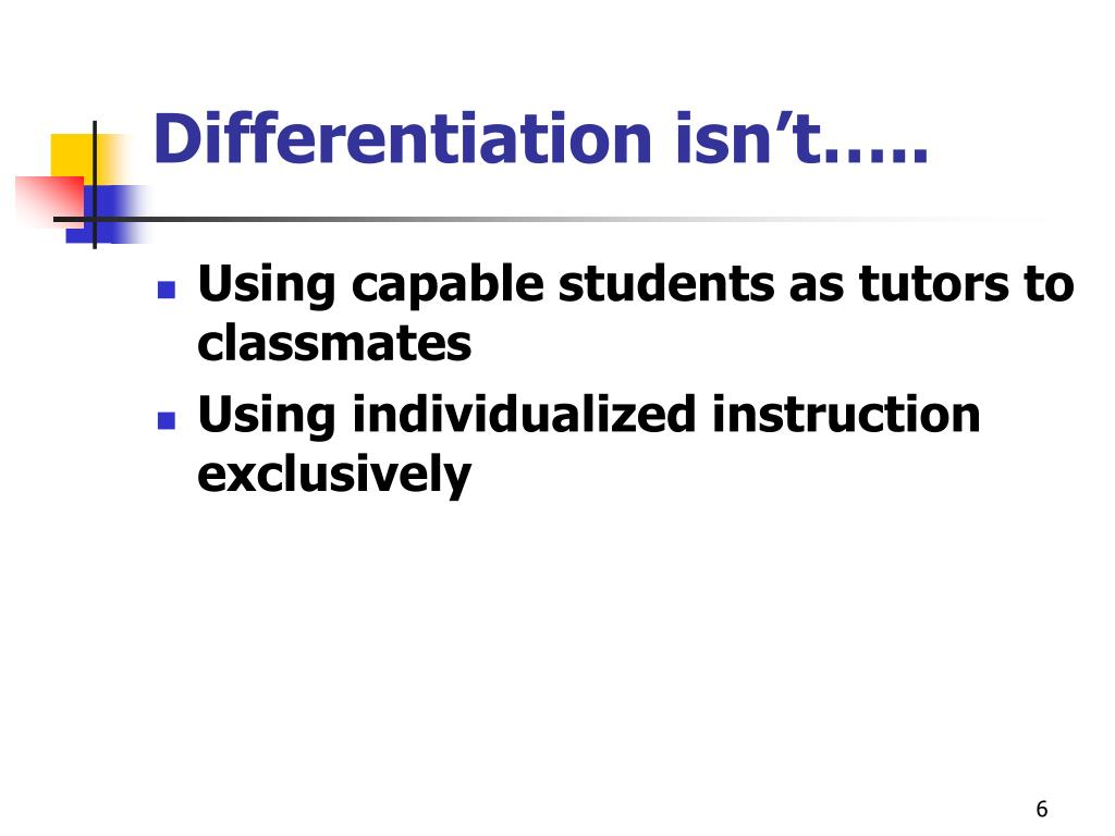 Differentiation isn't…..