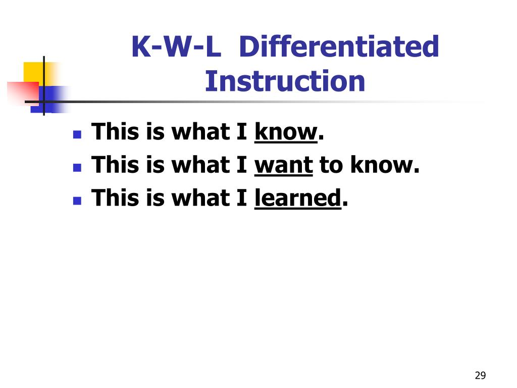 K-W-L  Differentiated Instruction