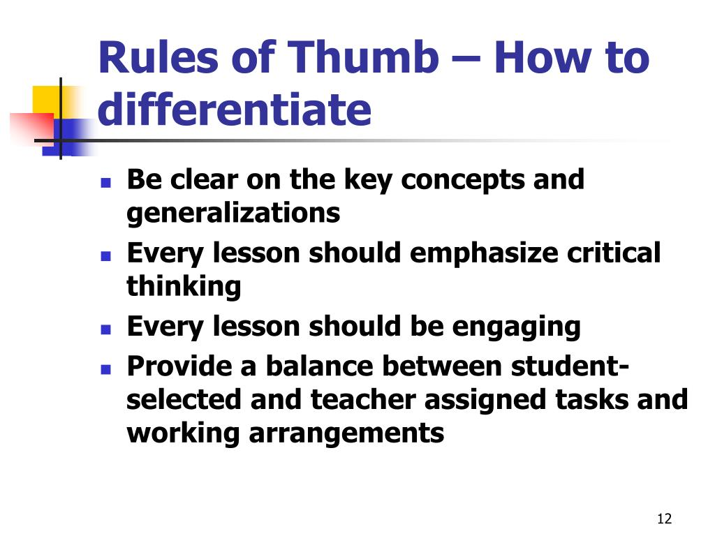 Rules of Thumb – How to differentiate