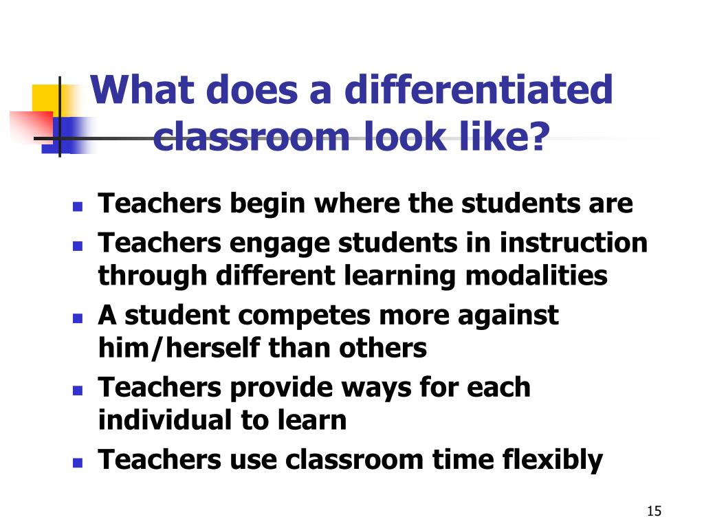 What does a differentiated classroom look like?
