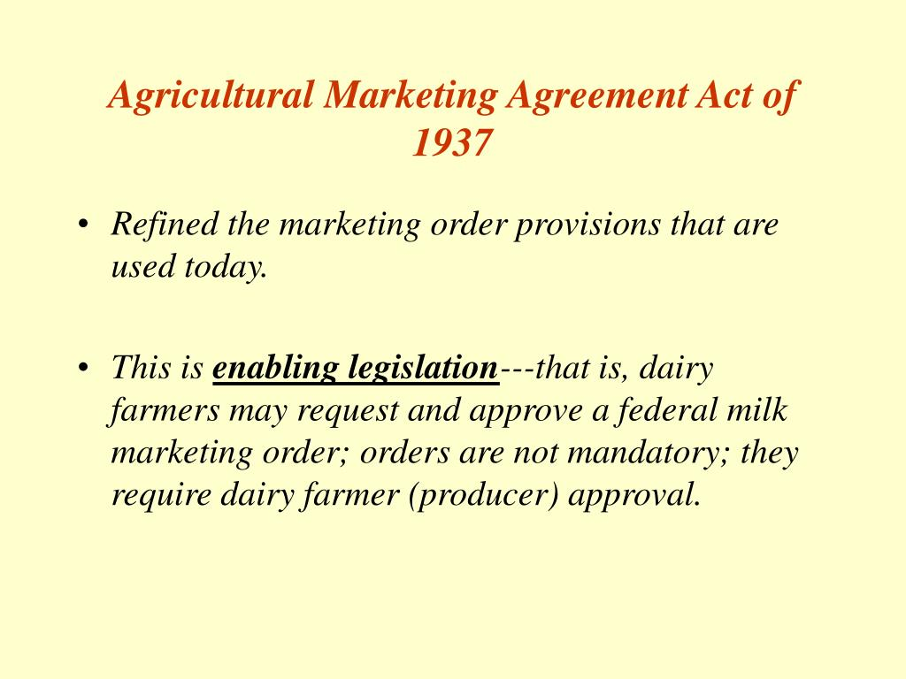 Agricultural Marketing Agreement Act of 1937