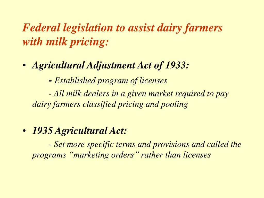 Federal legislation to assist dairy farmers with milk pricing: