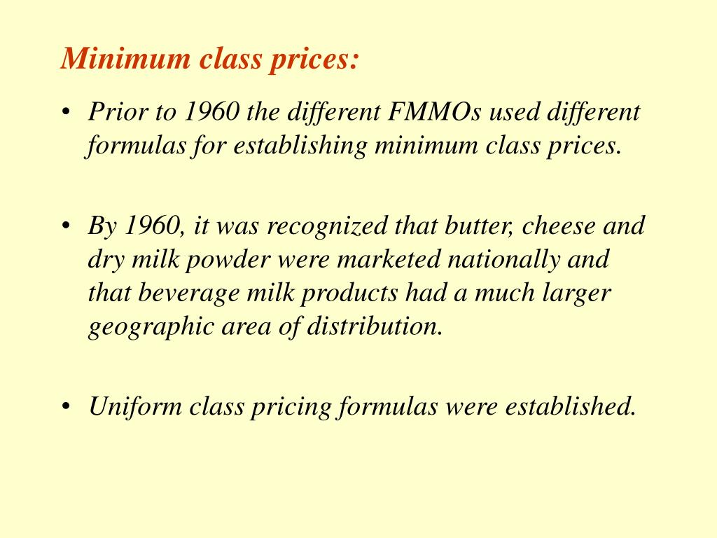 Minimum class prices:
