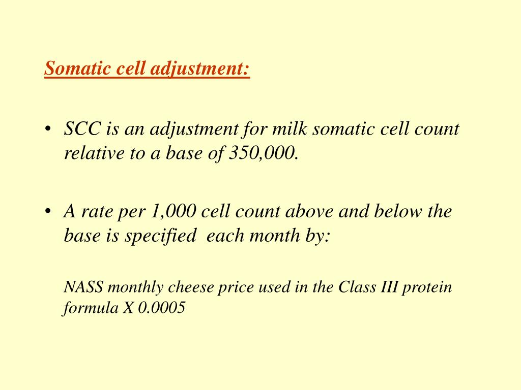 Somatic cell adjustment: