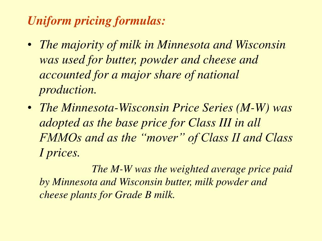 Uniform pricing formulas: