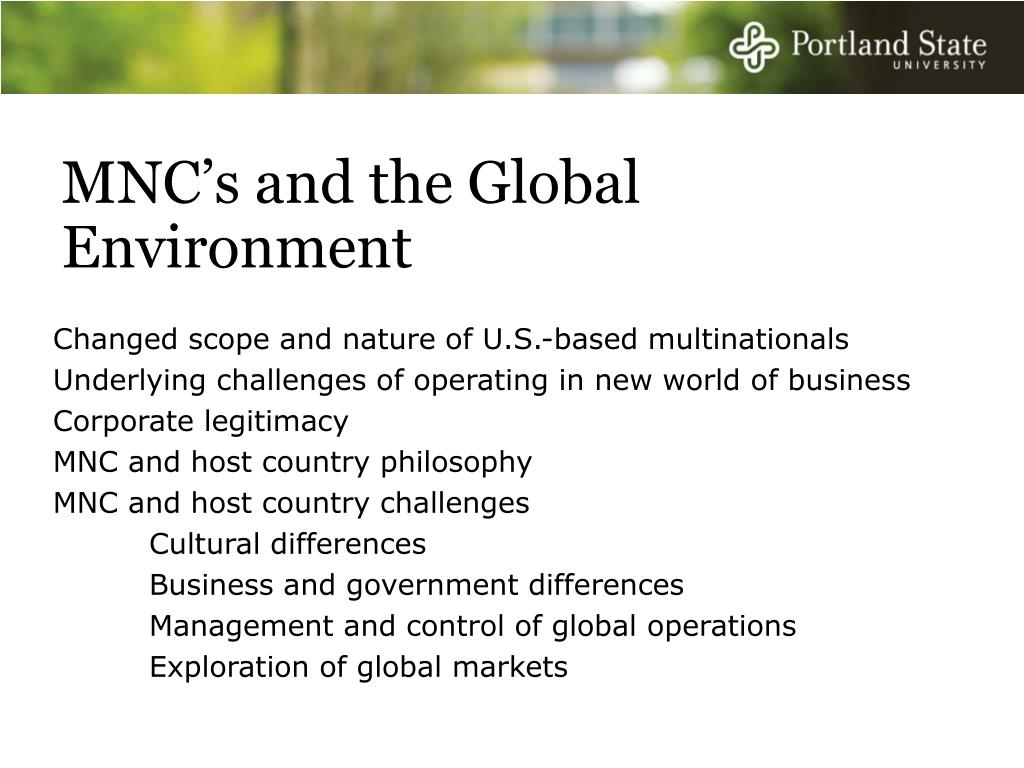 MNC's and the Global Environment