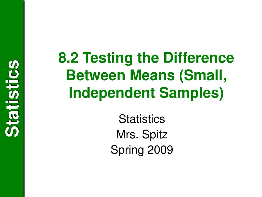 8.2 Testing the Difference Between Means (Small, Independent Samples)