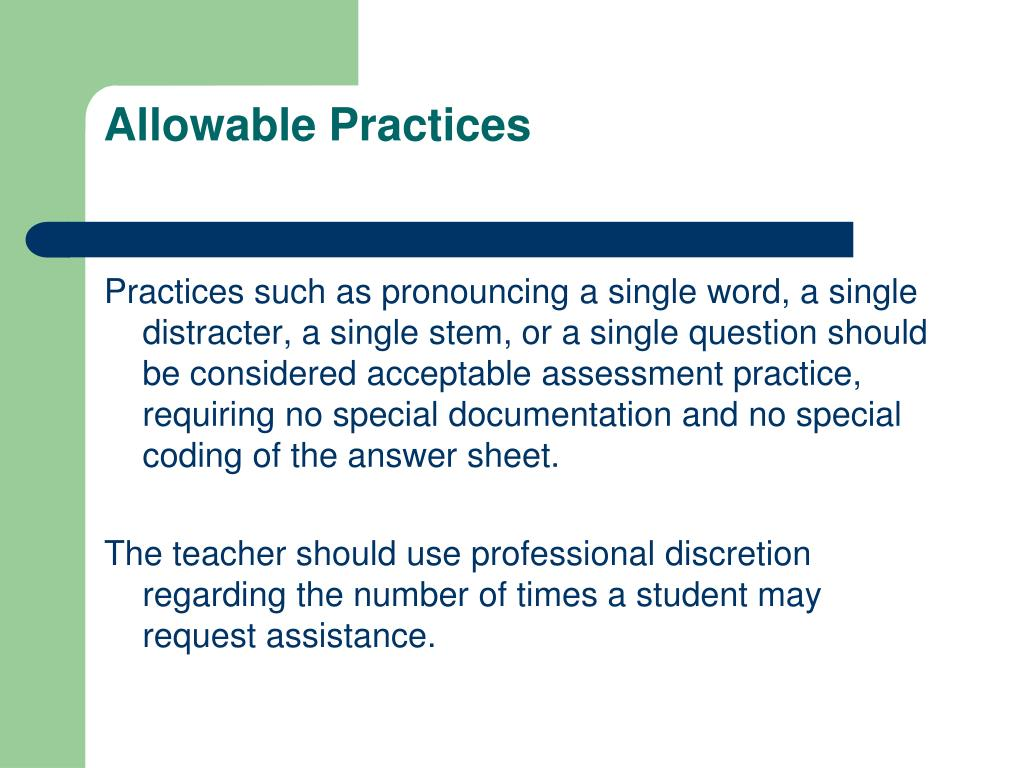 Allowable Practices