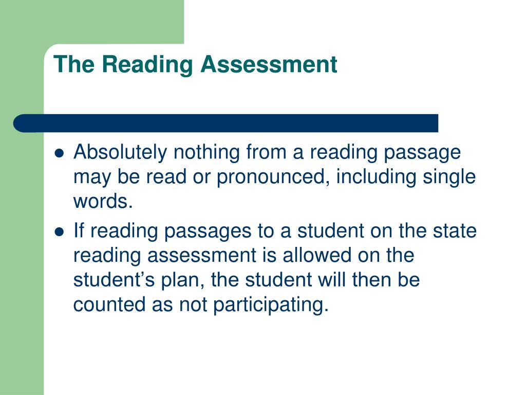 The Reading Assessment