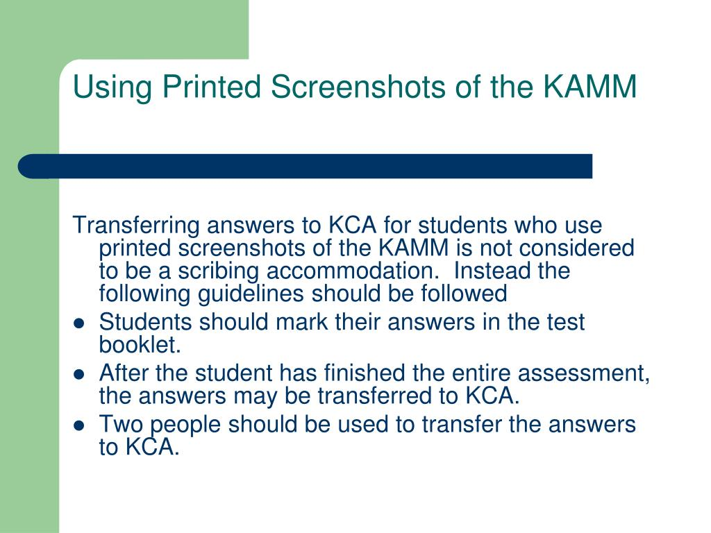 Using Printed Screenshots of the KAMM