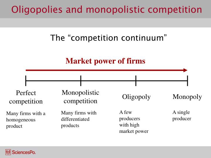 Oligopolies and monopolistic competition3