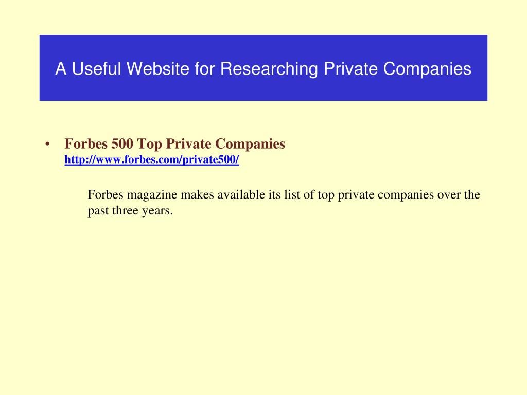 A Useful Website for Researching Private Companies