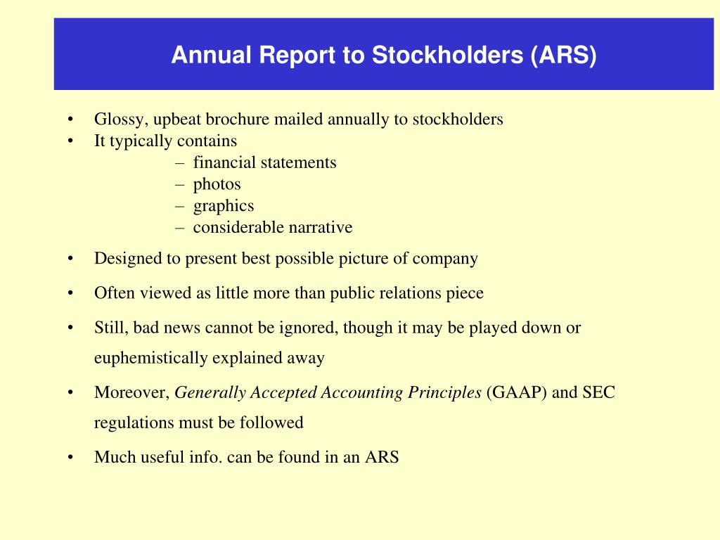 Annual Report to Stockholders (ARS)