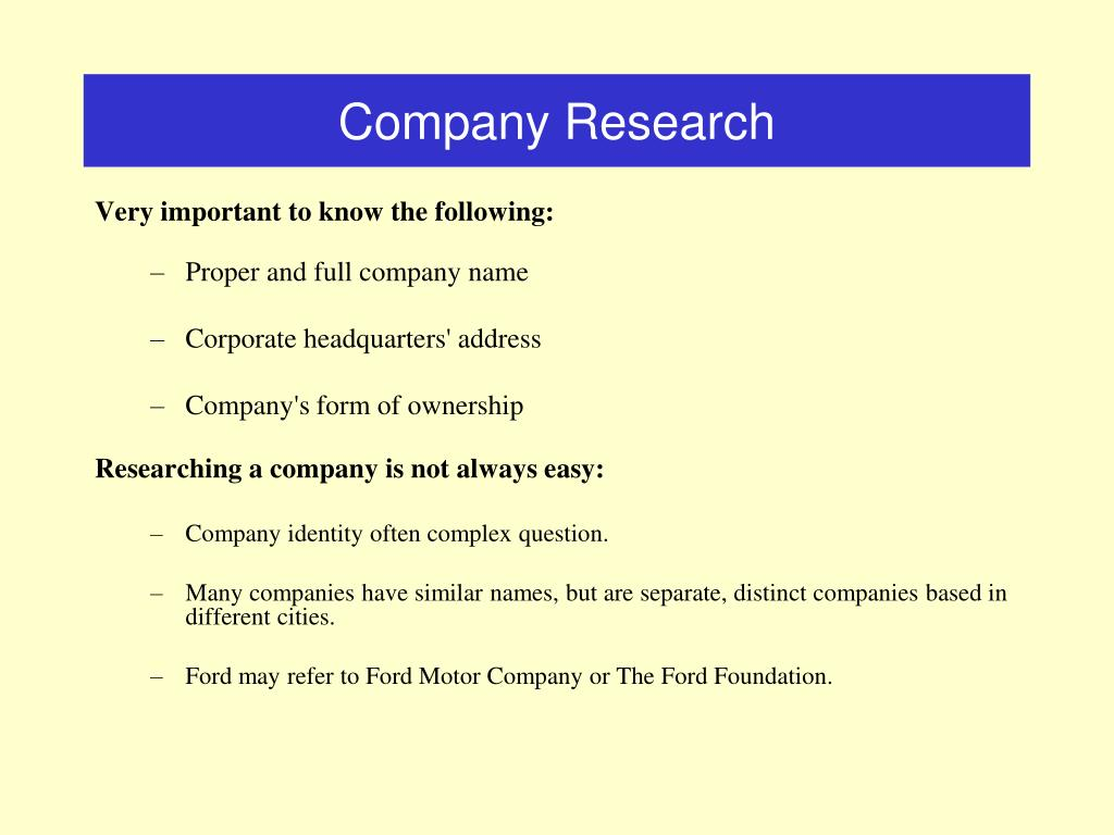 Company Research