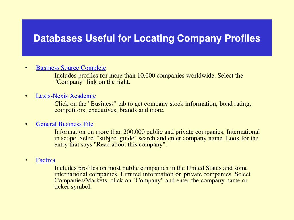 Databases Useful for Locating Company Profiles
