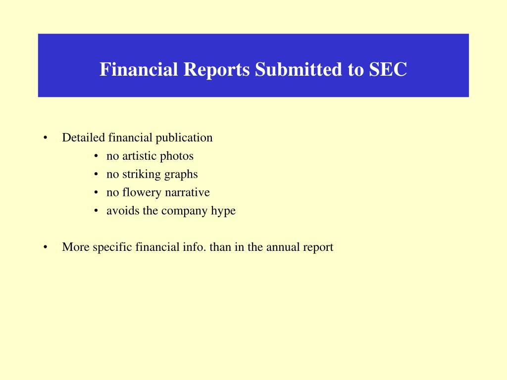 Financial Reports Submitted to SEC