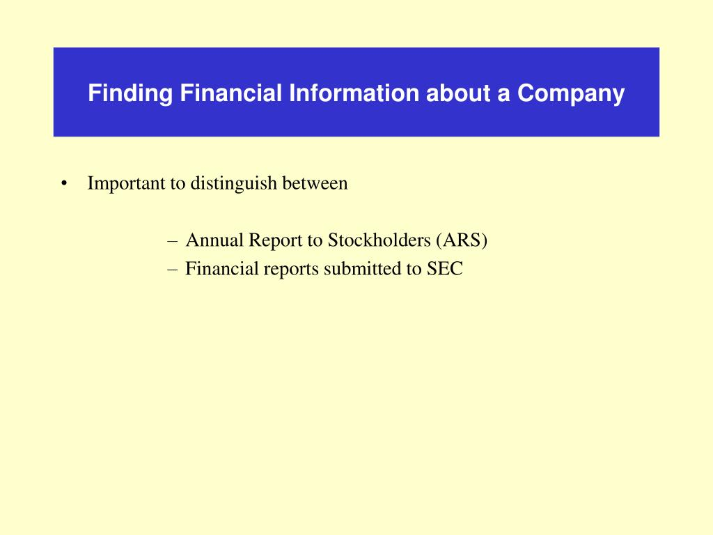 Finding Financial Information about a Company