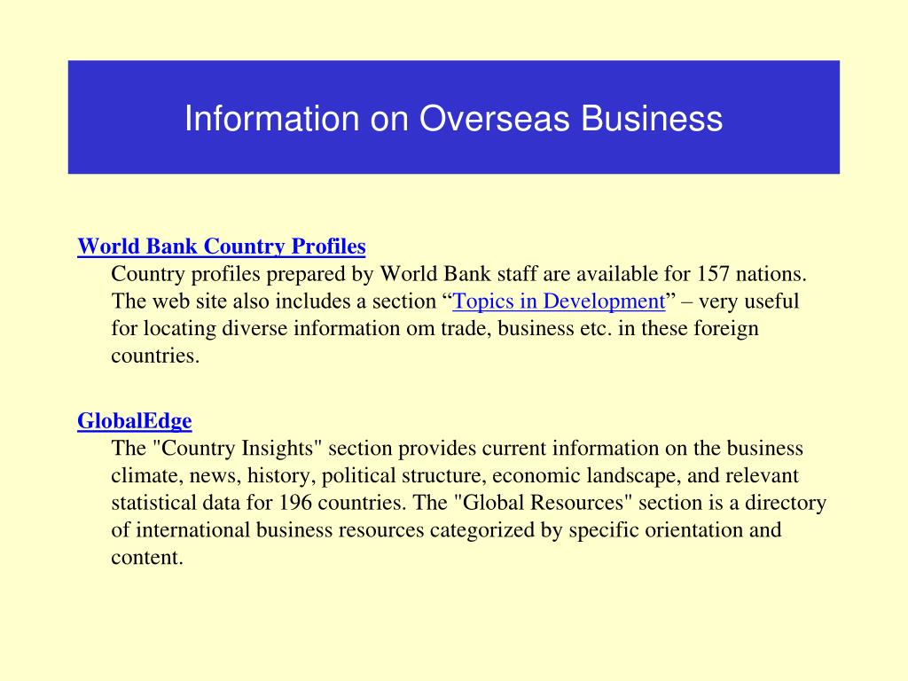 Information on Overseas Business
