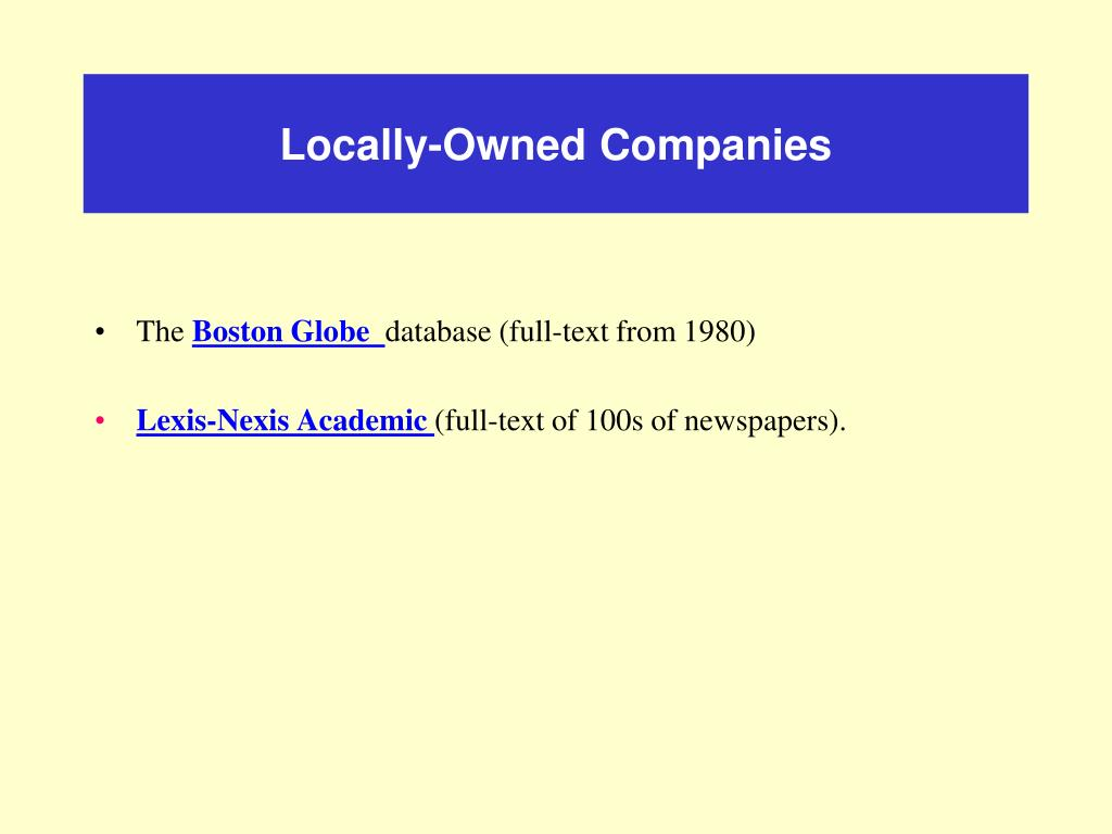 Locally-Owned Companies