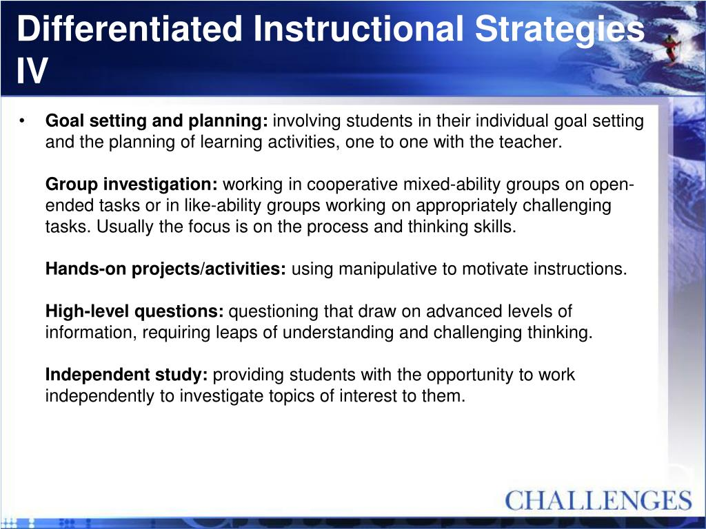 Differentiated Instructional Strategies IV
