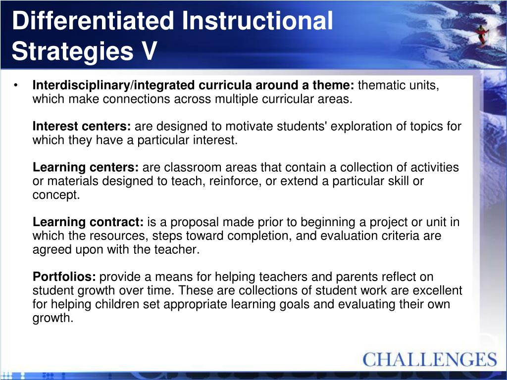 Differentiated Instructional Strategies V
