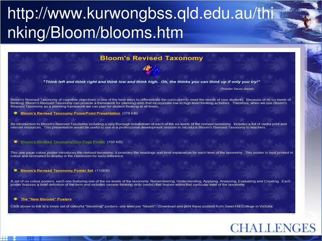 http://www.kurwongbss.qld.edu.au/thinking/Bloom/blooms.htm