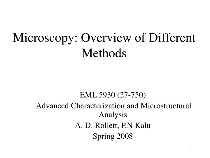 Microscopy overview of different methods