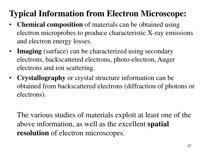 Typical Information from Electron Microscope: