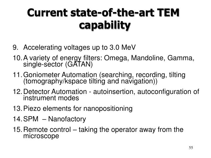 Current state-of-the-art TEM