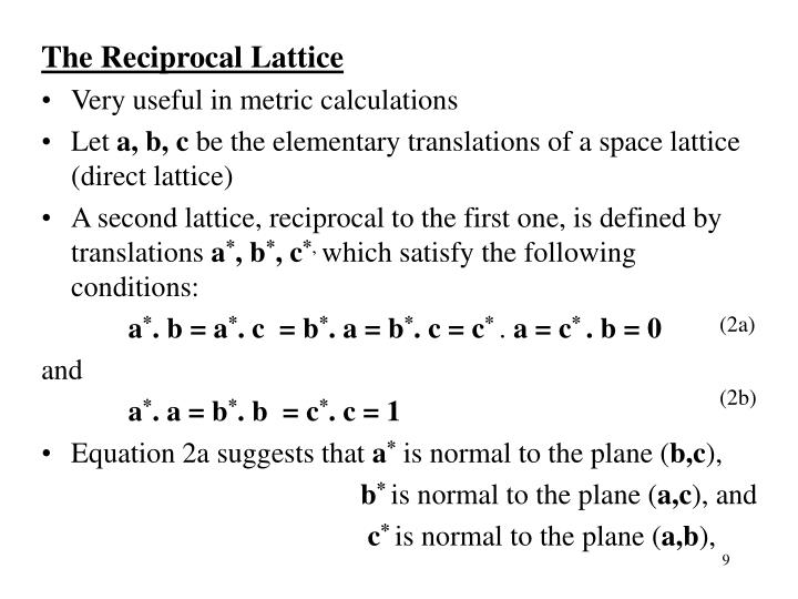 The Reciprocal Lattice