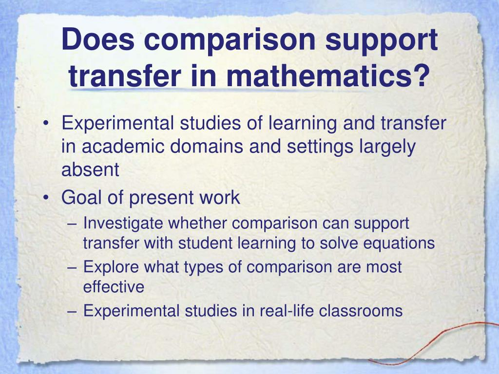 Does comparison support transfer in mathematics?
