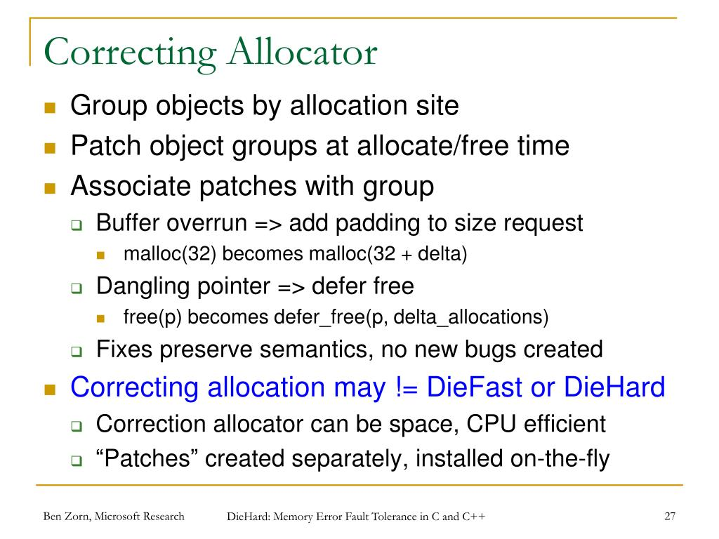 Correcting Allocator
