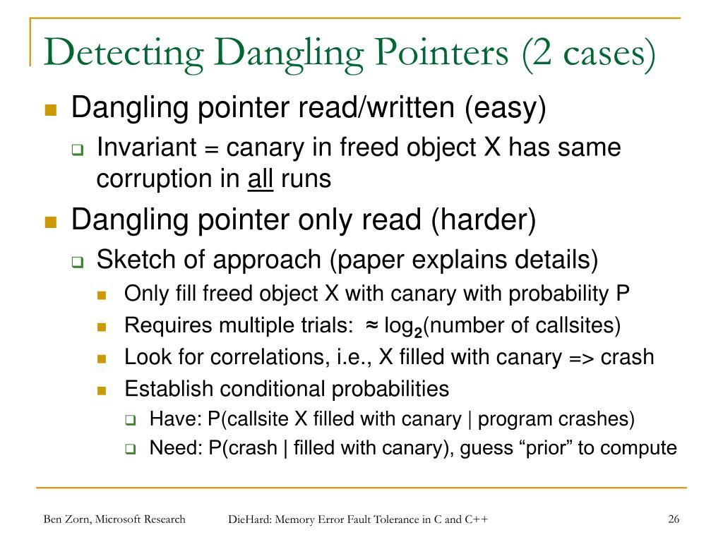Detecting Dangling Pointers (2 cases)