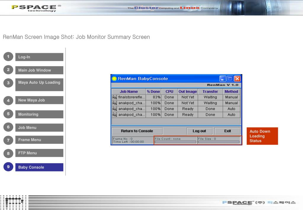 RenMan Screen Image Shot: Job Monitor Summary Screen