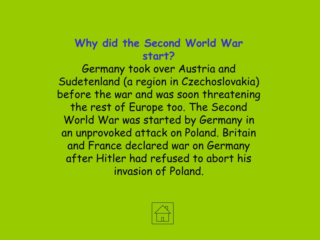 Why did the Second World War start?