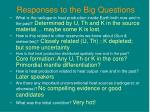 responses to the big questions