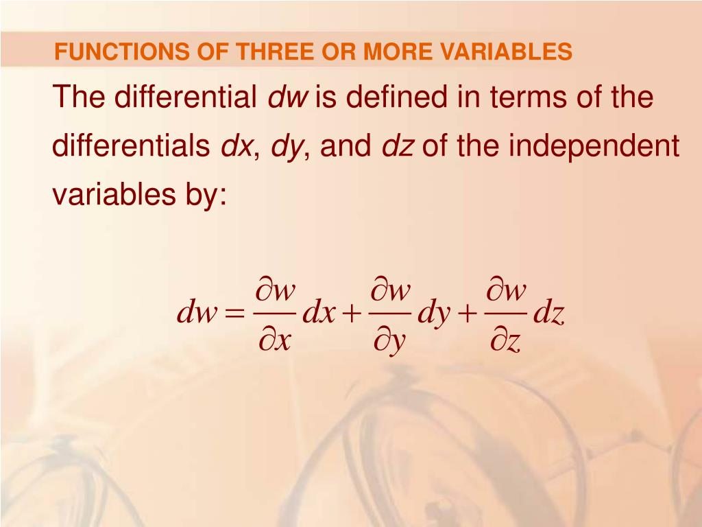 FUNCTIONS OF THREE OR MORE VARIABLES