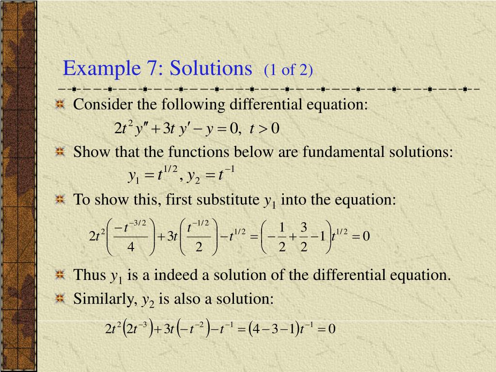 Example 7: Solutions