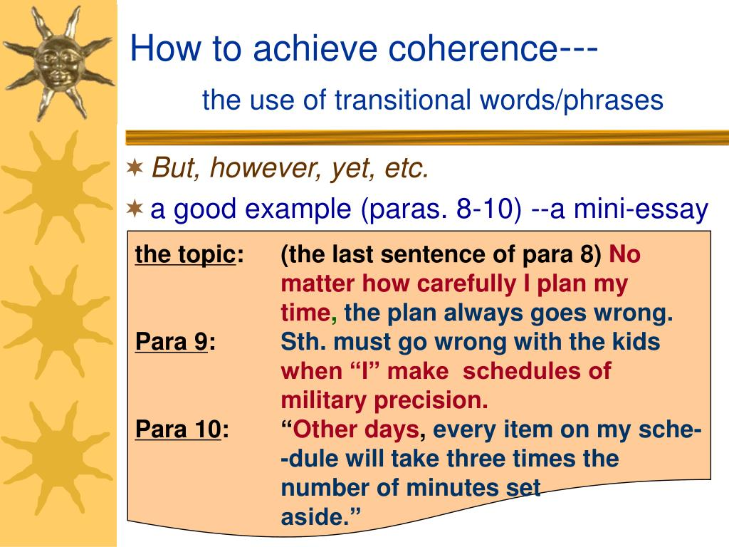 How to achieve coherence