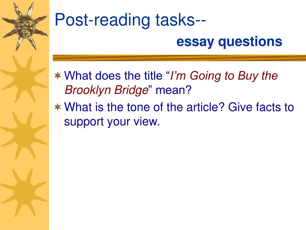 Post-reading tasks--