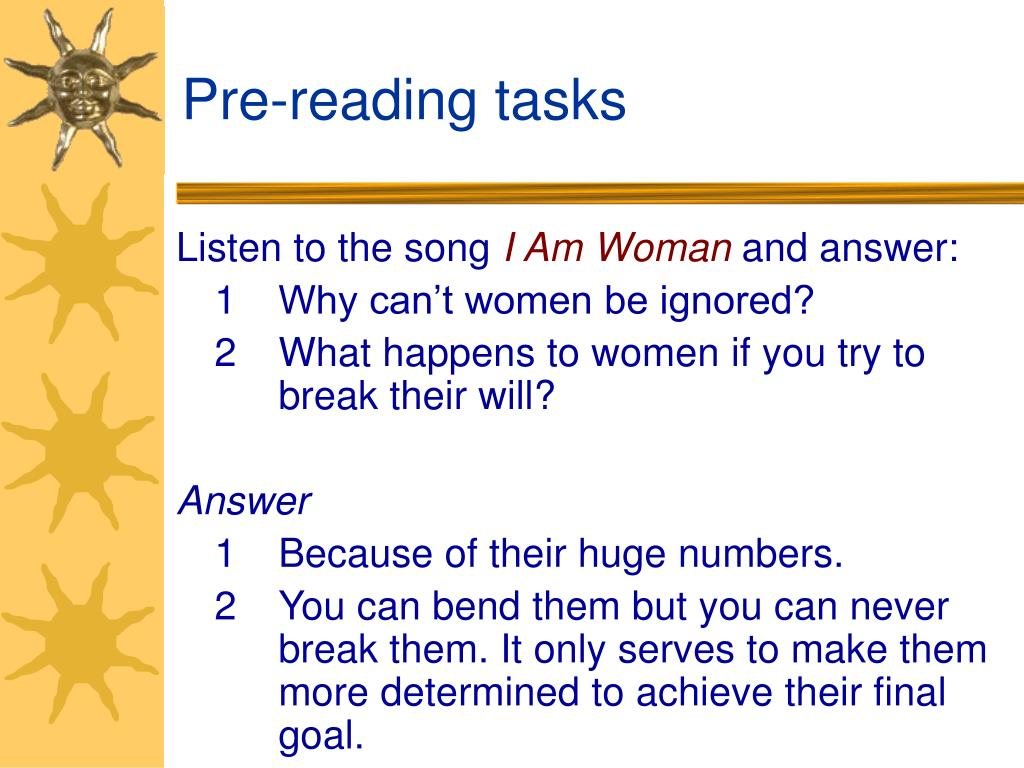 Pre-reading tasks