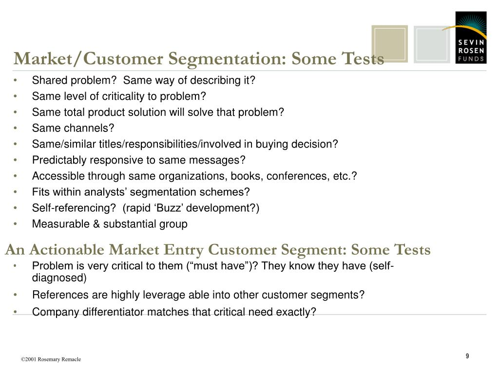 Market/Customer Segmentation: Some Tests